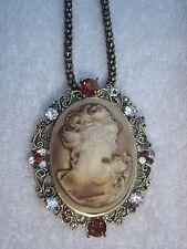 Gothic Victorian Bronze Tone Filigree Vintage Cameo Brooch Pendant Necklace