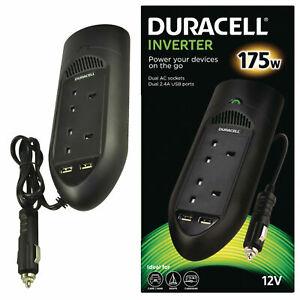 Duracell 175W Car Power Inverter Dual AC Socket 220V + 2x USB Socket 2.4A NEW UK
