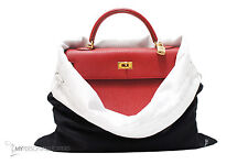 """LUXE REVERSIBLE BLACK/WHITE DUST BAG FITS YOUR HERMES 17.75""""x15.5"""" (MD/LG)"""