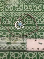 """Vintage Sterling Silver Sun & Moon Blue Stone & Sterling 18"""" Necklace FREE SHIP"""