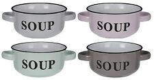 Set of 4 Stoneware Soup Bowls With Handles in 4 Colours Soup Bowl Set 13.5cm