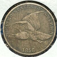 1858 1C Flying Eagle Cent, Large Letters (59818)