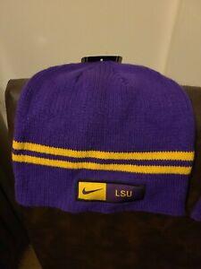 Nike LSU Tigers Beanie Hat Cap Skull Knit Purple Stitched Embroidered