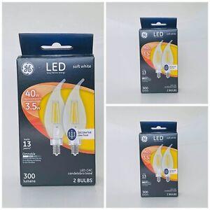 3 packs of 2 bulbs GE LED 3.5W 40W soft white LED CAC 300 lumens bent tip