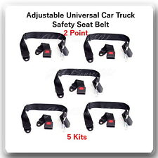 (5 Kits ) Adjustable Universal Car Truck 2 Point Seat Belt Lap Safety Belt