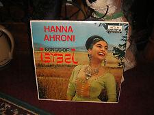 Hanna Ahroni Songs Of Israel Vinyl Record-Decca Records-DL8937-Hi Fi-Jewish