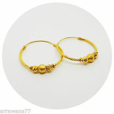 22K 23K 24K THAI BAHT YELLOW GOLD GP EARRINGS JEWELRY Hoops 2.5 CM