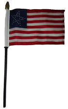 """35 Great Star USA American 4""""x6"""" Flag Desk Set Table Wooden Stick Staff"""