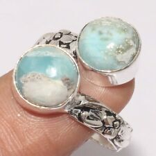 P5843 RARE Natural larimar & 925 Silver Plated Ring US 8 Jewelry