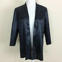 CHICO'S Travelers Size 2  Black Crinkle Jacket Cardigan Open Front 3/4 Sleeve