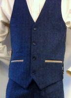 Men's Marc Darcy Tweed Herringbone Checkered Vintage Tailored Formal Waistcoat