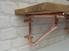 Copper Pipe Shelf Brackets Braced Style Supports (Pair)