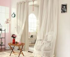 BLOCKOUT EYELET CURTAINS Double Layer Bridal Lace GIRL Curtain Beige Cream Latte