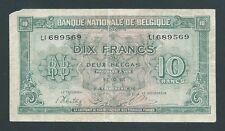 F.C. BELGICA BELGIUM , 10 FRANCOS-2 BELGAS 1943 , B/C+ (F+) , PICO ROTO , P.122