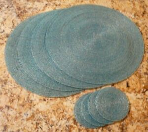 """Set of 4 Round 14"""" Placemats & 4 Coasters Aqua Blue Glass Beads Table Mat"""