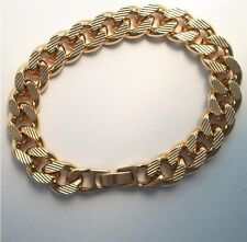 24k Gold Plated 10 MM Etched Curb Bracelet  Lifetime Guarantee Warranty 8 inch