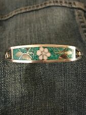Vintage Sterling Silver with Turquoise Inlay hinged Bracelet