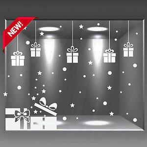vetrofanie natalizie addobbo adesivi vetrine negozio 64 pz neve stelle a0358