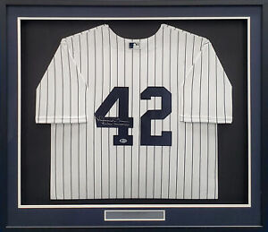 "YANKEES MARIANO RIVERA AUTOGRAPHED NIKE FRAMED JERSEY ""SANDMAN"" BECKETT 185770"