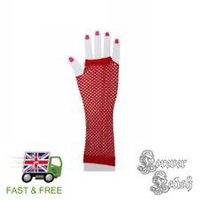 Sexy Halloween Red Fishnet Gloves Retro Raver Fancy Dress Costume Fetish UK