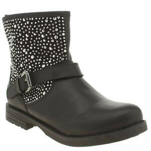 LELLI KELLY POLVERE DI STELLE GIRLS JUNIOR BLACK LEATHER CHIILDRENS ANKLE BOOT