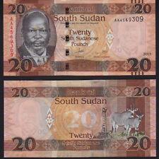 South Sudan 20 Libbre 2015, seleziona NUOVO Nuovo di zecca UNC