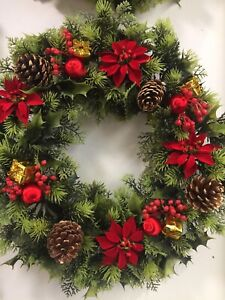 Artificial Large Christmas Holly, Poinsettia, Berry Cone Wreath
