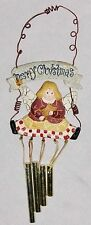 """Multicolor 8"""" Angel Over Wind Chimes Merry Christmas Ornament Figurine"""
