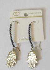 bead front dangling hand hook Earrings golden tone oval hoop loop hook closure