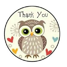 48 Thank You Owl #2!!  ENVELOPE SEALS LABELS STICKERS 1.2