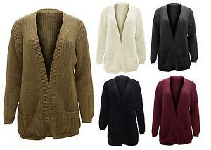 New Ladies Womens Open Plain Knitted Boyfriend Pocket Fishermen Cardigan Top