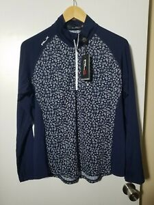 1 NWT RALPH LAUREN RLX WOMEN'S PULLOVER, SIZE: LARGE, COLOR: NAVY/WHITE (J69)
