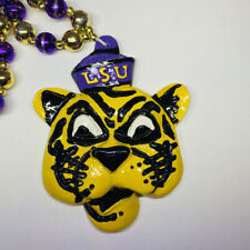 "Mardi Gras Bead Necklace LSU Tiger Head Purple Gold 22"" Baton Rouge Louisiana"