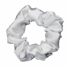 White Satin Scrunchie Ponytail Holder Hair Accessories Made in the USA