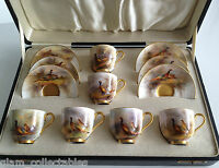Royal Worcester Boxed coffee Service Hand Painted with Pheasants Signed Stinton