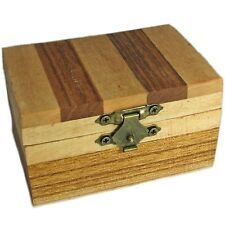 Decorative Small Wood Trinket Box With Striped Pattern