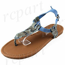 New girl's kids buckle sandals t strap blue animal print summer casual