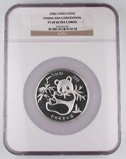1986 China ANA Coin Expo 5 oz Silver Panda Proof Medal Coin NGC PF68 Ultra Cameo