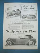 PUBLICITE DE PRESSE WILLY VAN DEN PLAS AUTOMOBILE TORPEDO CABRIOLET AD 1925