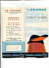 Vintage Cruise Ship Deck Plan FRENCH LINE SS FRANCE CGT 1st Premiere Class