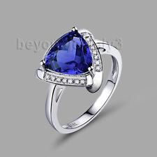 Real 18K WHITE GOLD Vintage 8X8MM TANZANITE DIAMOND Wedding Gemstone Ring