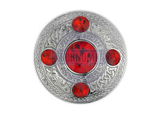 SCOTTISH CELTIC CREST KILT PIN PLAID RED DIAMANTE THISTLE BROOCH BADGE WEAR