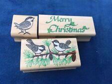 INKADINKADO Lot Of 3 Embossing Scrapbooking STAMPS Merry Christmas CHICKADEE