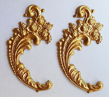 Faux ormolu.Ornament (#135) Set of 2. Furniture decoration.Antique reproduction