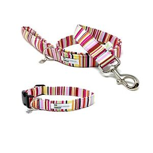 Candy Stripe Dog Collar and Optional Matching Lead Set