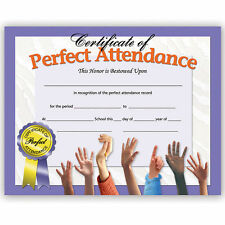 New Hayes School Publishing Perfect Attendance Certificate Set of 30 # Va613