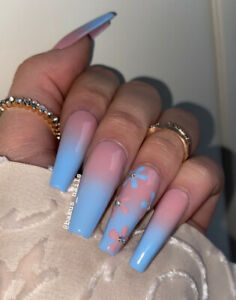 Hand Painted False Nails Long Tapered Coffin Press On Nails Floral Blue Ombre