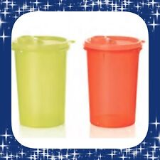 Tupperware Mega Tumblers Water Bottles Set 1L Neon Electric Orange & Yellow New