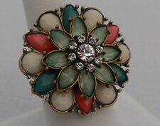 "Park Lane ""SAMBA"" Ring Teal, Green, Melon & Austrian Crystals New - Size 9"
