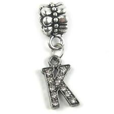 """""""K"""" Letter Dangle Charm Beads with Crystals for Snake Chain Charm Bracelet"""